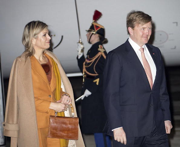 King Willem-Alexander and Queen Maxima of The Netherlands arrive at the airport Velizy-Villacoublay in Paris