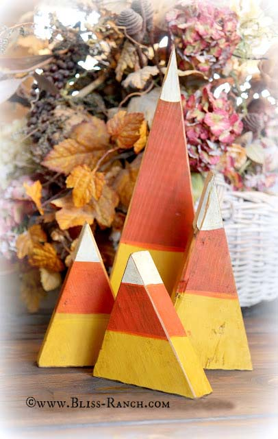 Wood Fall Candy Corn Decorations Bliss-Ranch.com