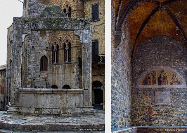 San Gimignano: a Piazza della Cisterna e detalhe da catedral