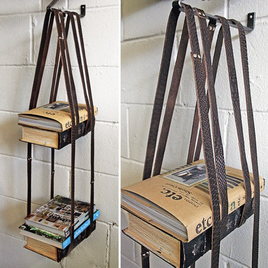 Book Shelf from Old Straps.Book Shelf from Old Straps