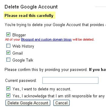 Screenshot options chosen to delete Google Account