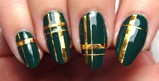 Green and Gold Plaid Nails