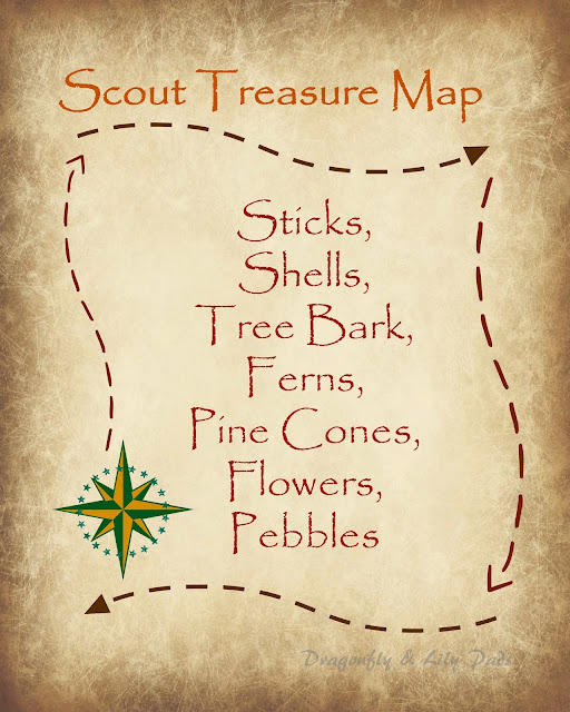 Free Printable Treasure Map to create a nature inspired craft with scouts.
