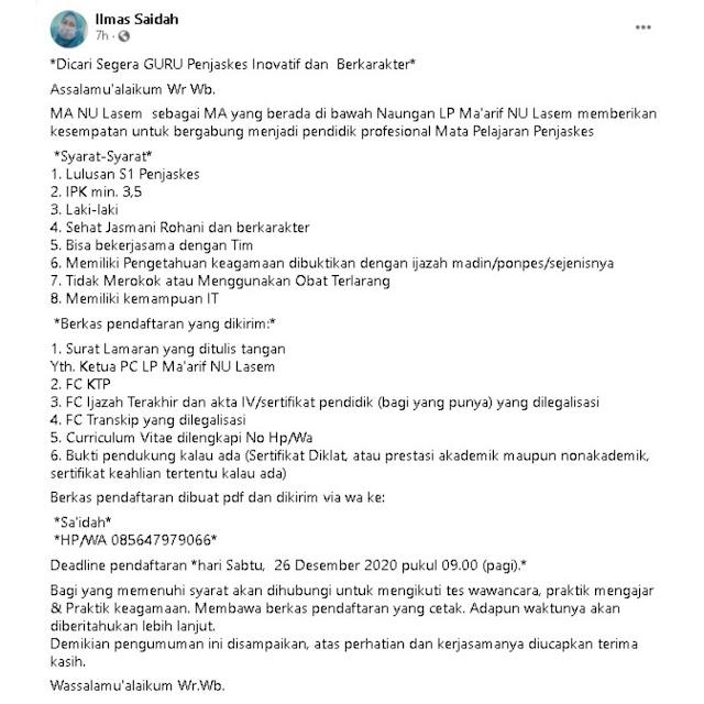 Lowongan Kerja Guru Penjaskes MA NU Lasem Rembang