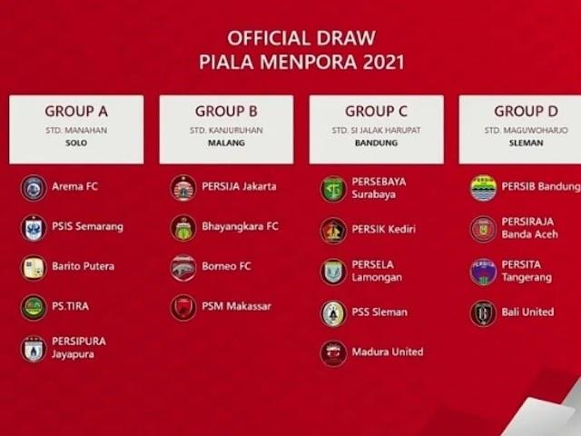 Ini Pembagian Group Setiap Tim Hasil Drawing Piala Menpora 2021