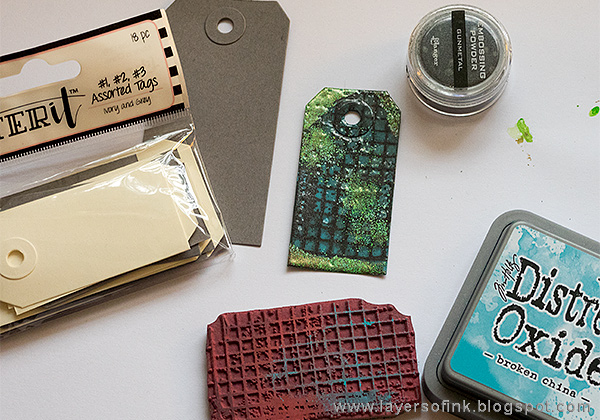 Layers of ink - Grunge It Up Tag Tutorial by Anna-Karin Evaldsson with Ranger Letter It tags and embossing powders