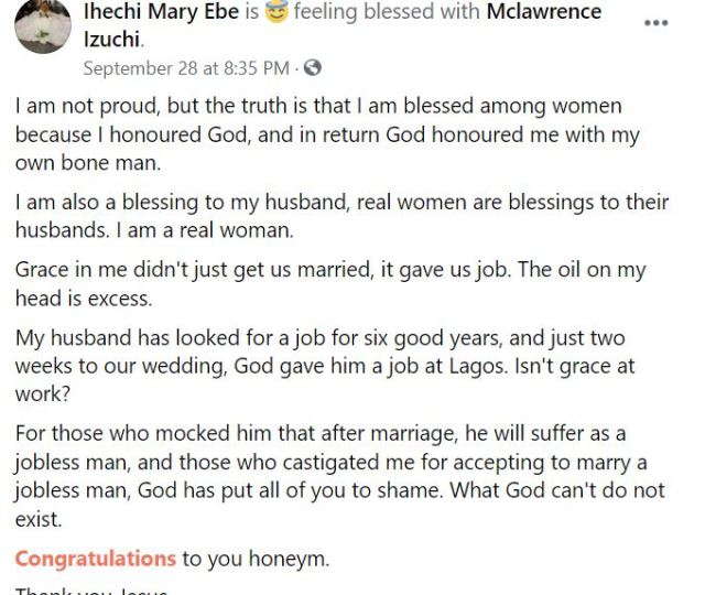 I have given it to the only man who deserved it – Newly-wedded lady who married as a virgin says as she celebrates her new man.