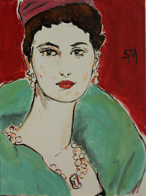 art, arte, painting, pintura, sarah, myers, pink, toque, fashion, new, lady, woman, face, portrait, figurative, design, designs, red, green, aqua, jewellery, jewelry, poise, elegant, large, canvas, contemporary, ultracontemporary, modern, style, bright, bold, lines, simple, pearls, hat, coat, elegance, paint, head
