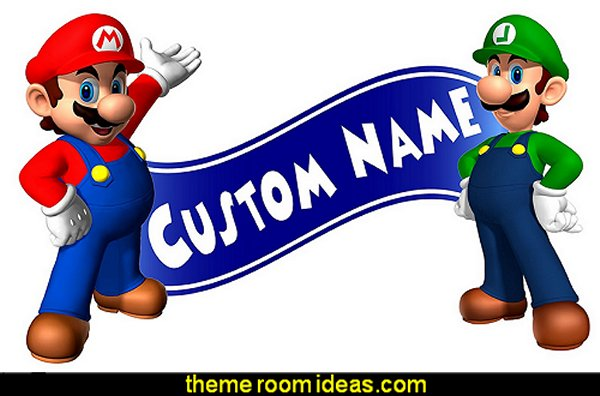 Super Mario Bros Wall Decal Room Decor  Gamer bedroom - Video game room decor - gamer bedroom furniture - gamer wall decal stickers - Super Mario Brothers Wall Stickers - gamer bedding - Super Mario Brothers bedding - Pacman decor -  Retro Arcade bedrooms - 80s video gamers - gamer throw pllows