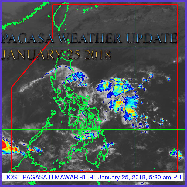 Shown in the image the new weather system, Low Pressure Area (LPA). Image taken via PAGASA Weather Satellite - HIMAWARI - 8 as of 3:00 AM, 25 January 2018.