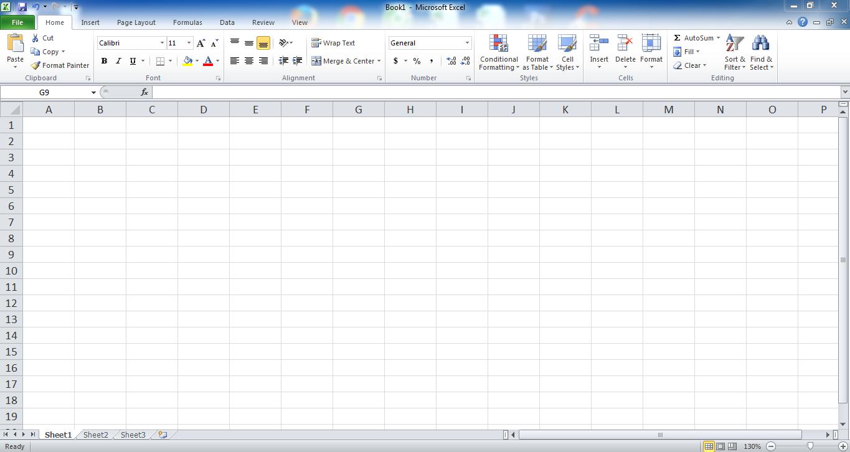 Giao diện cửa số Microsoft Excel 2010