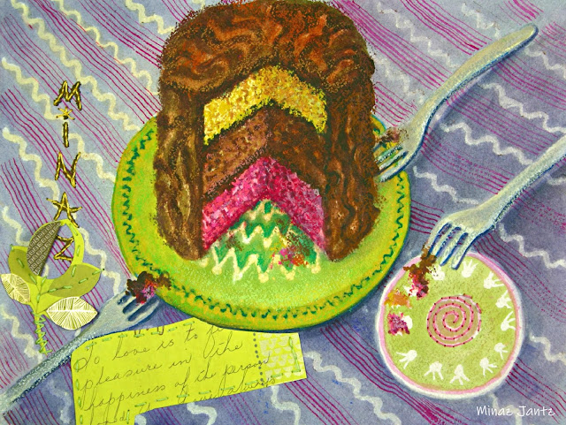 Love is Sharing Cake by Minaz Jantz (Watercolor, pastel, stitching & collage)