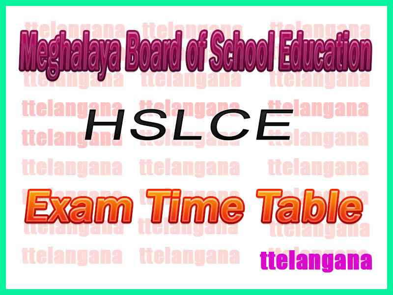 MBOSE HSSLC Meghalaya Board of School Education 12th Commerce Time Table