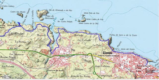 Mapa Topográfico 1 Senda Costera Llanes Villahormes