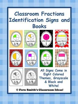 http://www.teacherspayteachers.com/Product/Fraction-Identification-Signs-and-Books-for-Your-Classroom-249-Pages-554860