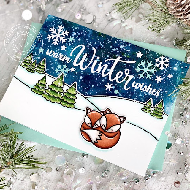 Sunny Studio Stamps: Scenic Route Circle Snowflake Frame Dies Layered Snowflake Frame Dies Foxy Christmas Winter Themed Holiday Card by Leanne West