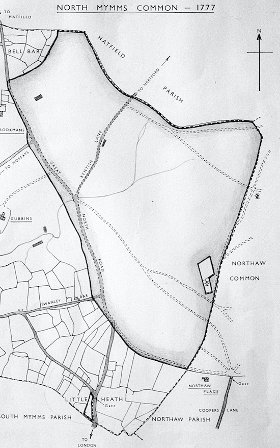 Map of the North Mymms Common in 1777 Image from the former North Mymms Local History Society