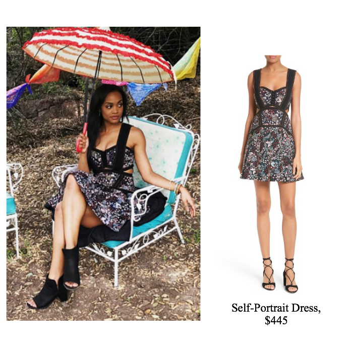 0ab22809af8d Bachelorette, Rachel Lindsay, looked stylish as always wearing this Self-Portrait  Floral Jacquard Minidress during Week 2 of the show.
