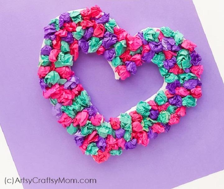 valentines day tissue paper heart wreath