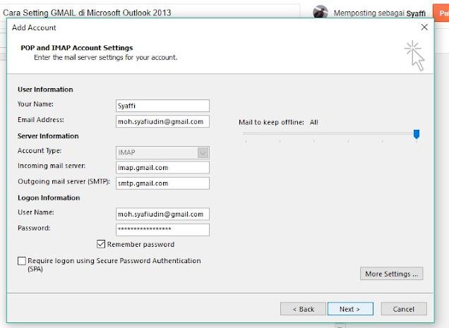 Cara Setting GMAIL di Microsoft Outlook 2013
