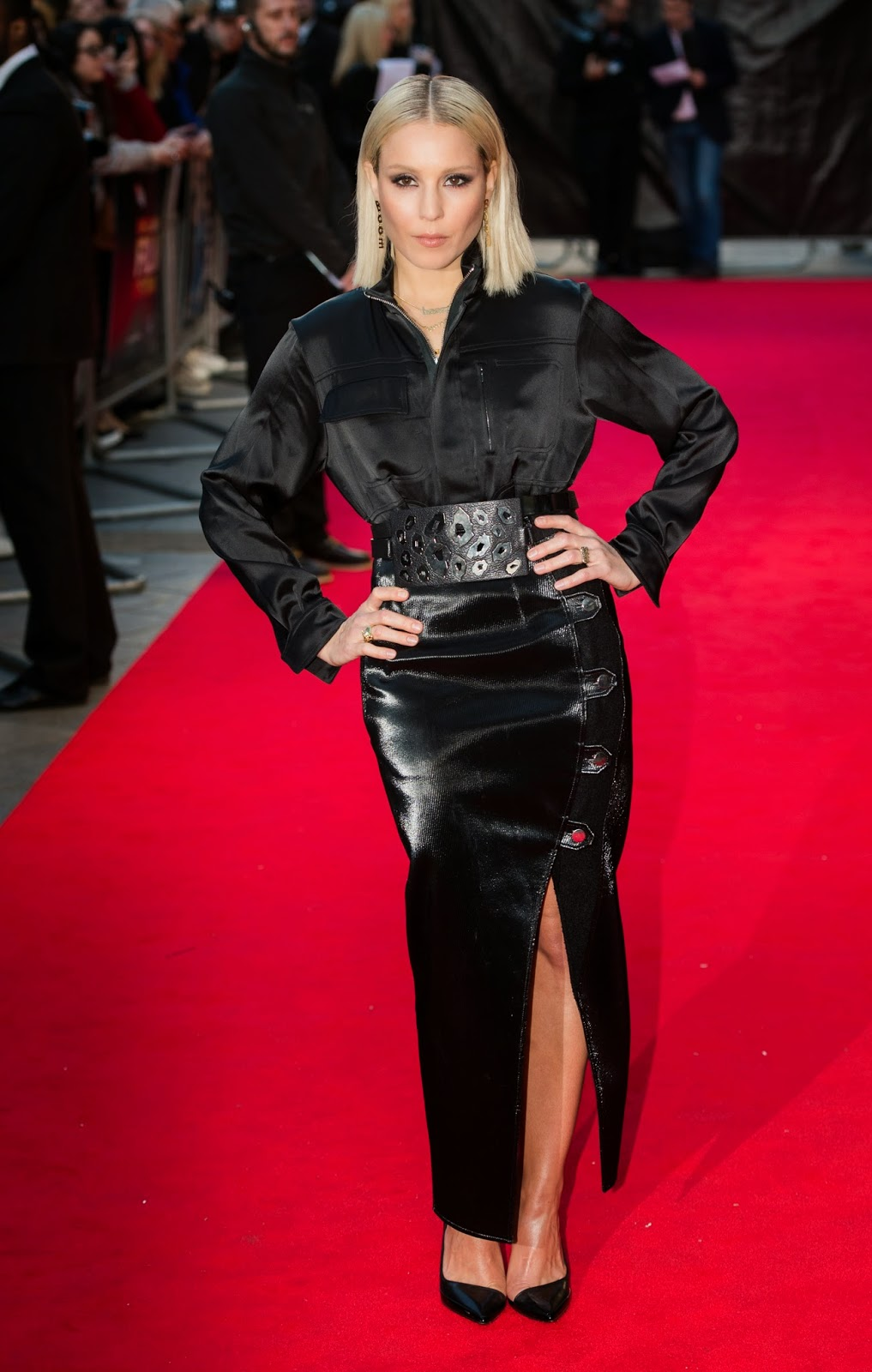 Noomi Rapace Black Satin Blouse Amp Leather Skirt Satin