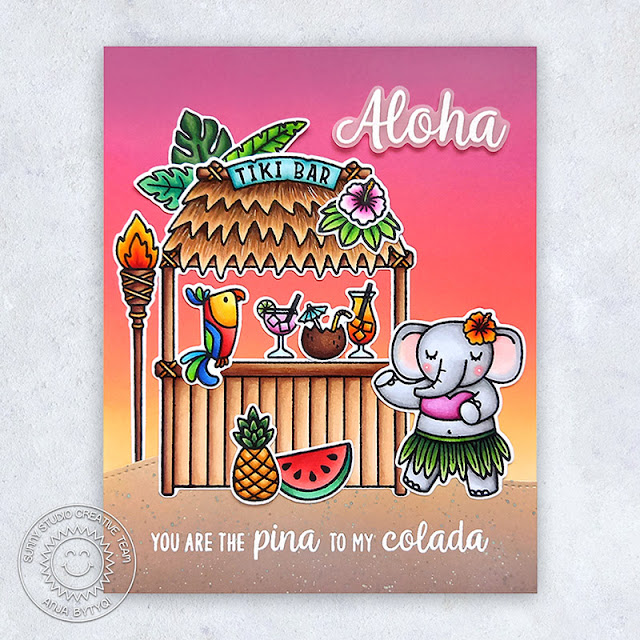 Sunny Studio Stamps: Tiki Time Fabulous Flamingos Slimline Dies Silly Sloths Tropical Themed Card by Anja Bytyqi
