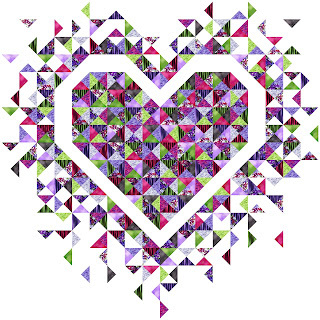 Exploding Heart quilt using Trellis fabric from Clothworks