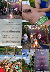 Timber Festival collage showing eco toilets local singers and entertainers camp fire and giant moth on a hand