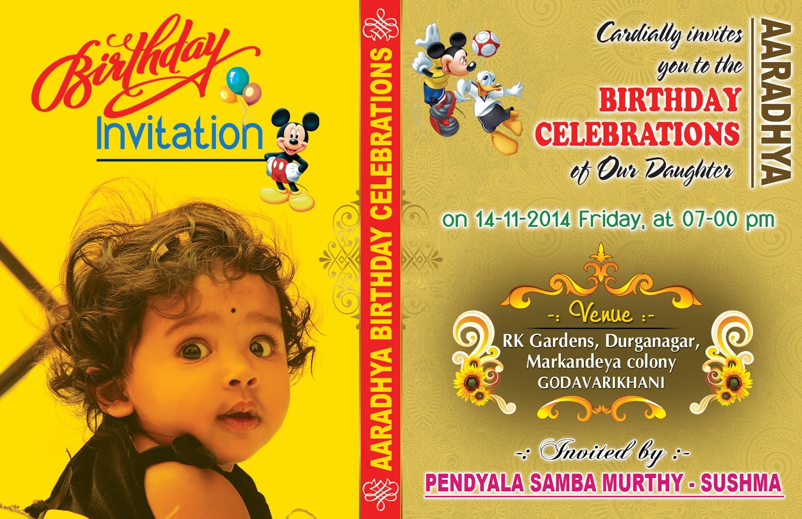 Birthday Invitation Card & Cover Design Psd Template Free