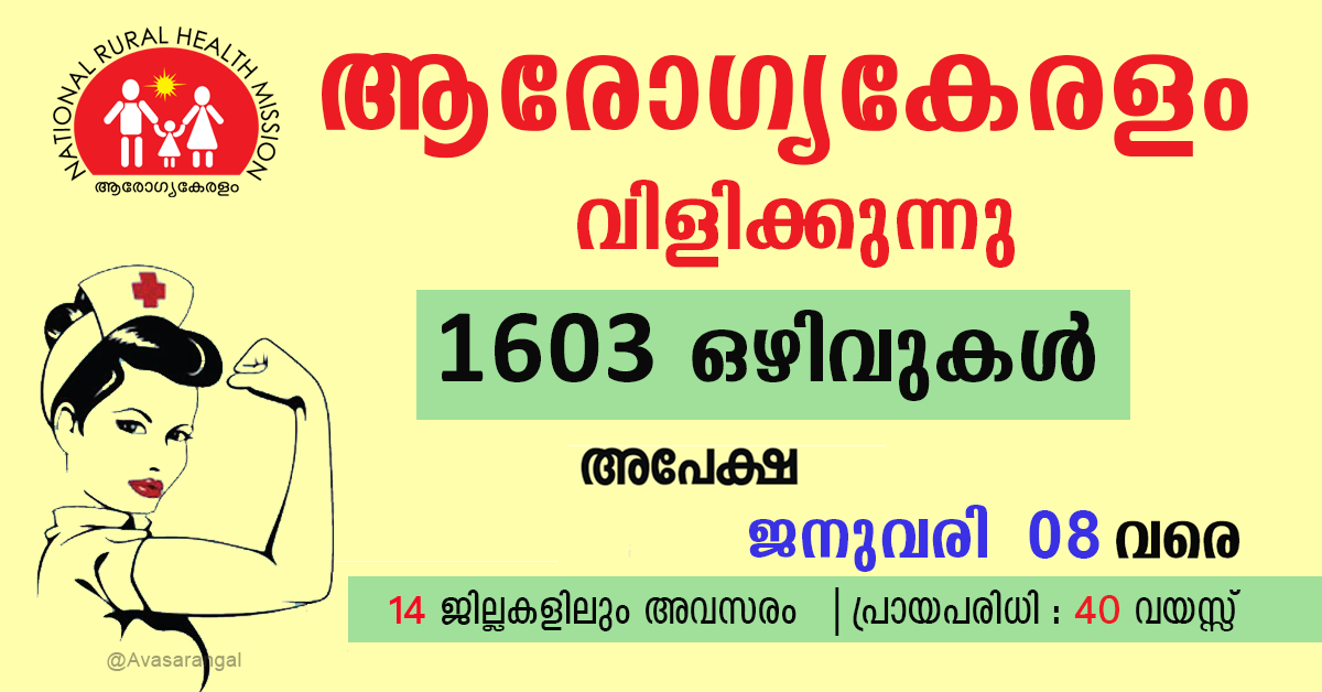 NHM Kerala Recruitment 2020│1603 Staff Nurse Vacancies