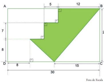 FDSBC 2019: O logotipo de uma empresa foi desenhado em um papel retangular de 20 cm de largura por 30 cm de comprimento, conforme mostra a figura, cujas medidas indicadas estão em centímetros.