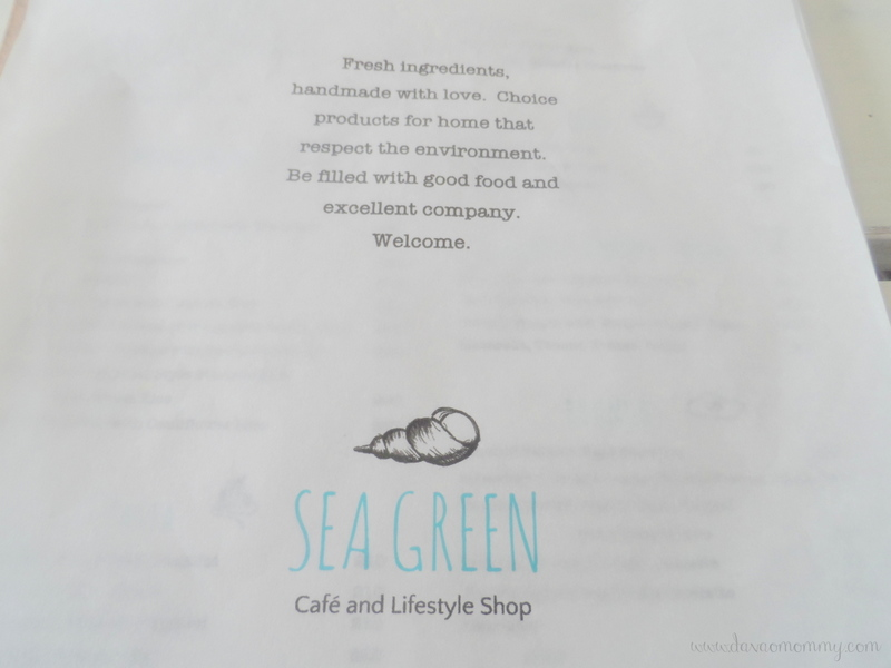 Sea Green Cafe Menu