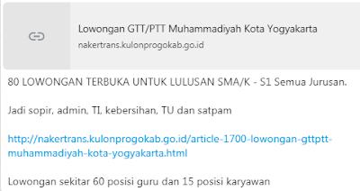 INFO PENERIMAAN TENAGA GTT/PTT DI SEKOLAH MUHAMMADIYAH KOTA YOGYAKARTA TAHUN 2019