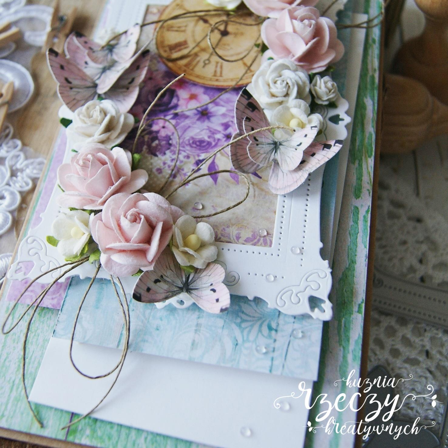 Pastelowa, kolorowa kartka urodzinowa.