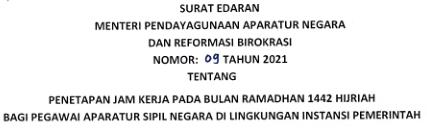 SE No. 9 Tahun 2021 Tentang Jam Kerja Bulan Ramadhan 2021
