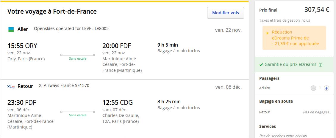 Billets Davion Martinique 307 Novembre Décembre Air
