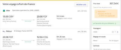 Voyage Paris Martinique. Vol aller avec Level, vol retour avec Xl Airways. Billets d'avion A/R 307 euros TTC sans bagage en soute.