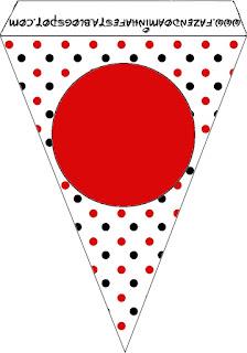 Banderines de Lunares Rojos y Negros para imprimir gratis.