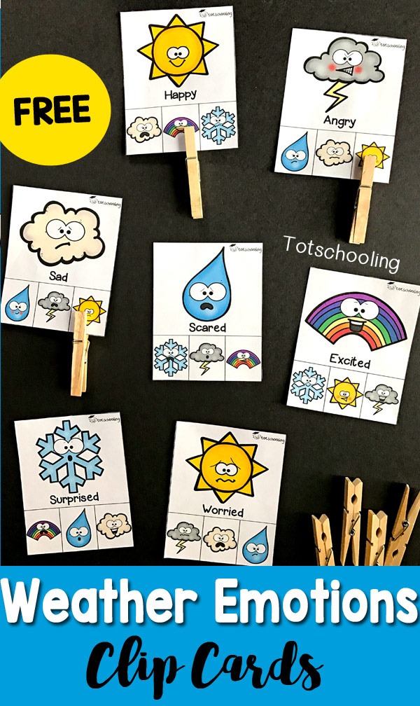FREE printable Emotions activity with a Weather theme! Great for toddlers and preschoolers to learn about feelings, weather and build fine motor skills by clipping the cards with clothespins.