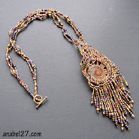 freeform peyote necklace beadwork free form beading ammonite