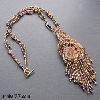 freeform peyote necklace beadwork free form beading ammonite