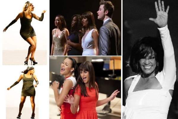 Glee - montage of Glee cast members singing and dancing, black and white photo of Whitney Houston