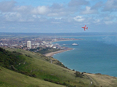 One of the Red Arrows at Airbourne - Eastbourne's annual air show