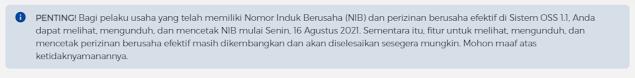 Jika anda sebelumnya sudah membuat NIB di tampilan lama oss, surat tersebut masih berlaku dan dapat digunakan, jadi anda tidak perlu membuat NIB yang baru. Namun jika surat NIB lama anda sudah tidak ada, maka anda harus menunggu hingga tanggal 16 agustus 2021 karena fitur unduhan masih dalam proses pengembangan sesuai dengan apa yang di informasikan di laman resmi oss.