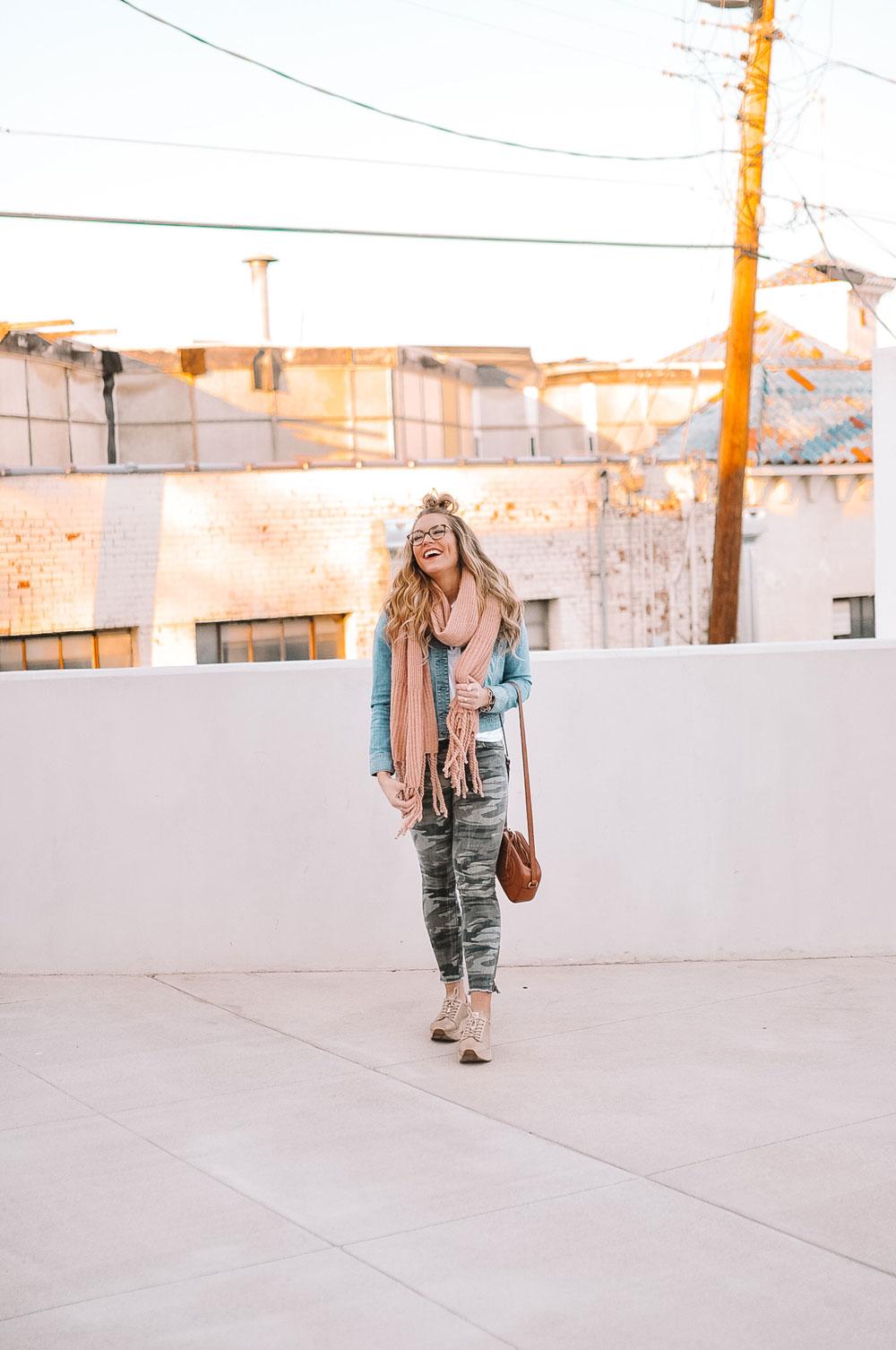Oklahoma City blogger Amanda's OK sports a half up top knot, denim and camo