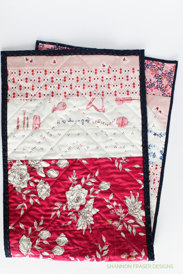 Back of the Modern Aztec Table Runner featuring Sonata fabrics