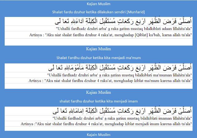 bacaan niat shalat fardhu dzuhur arab latin lengkap dengan terjemaahannya