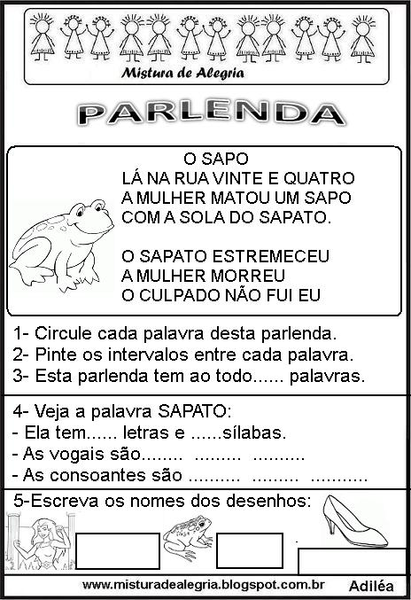 Folclore Brasileiro Atividades Com Parlendas Para Alfabetizar
