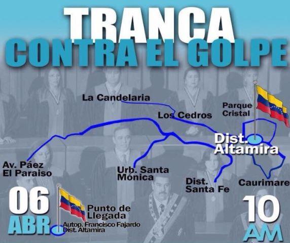 La marcha en Caracas de la oposición tiene 7 puntos de salida