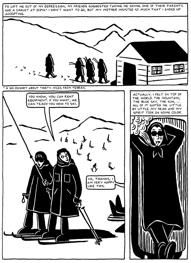 Read Chapter 12 - Skiing, page 115, from Marjane Satrapi's Persepolis 2 - The Story of a Return
